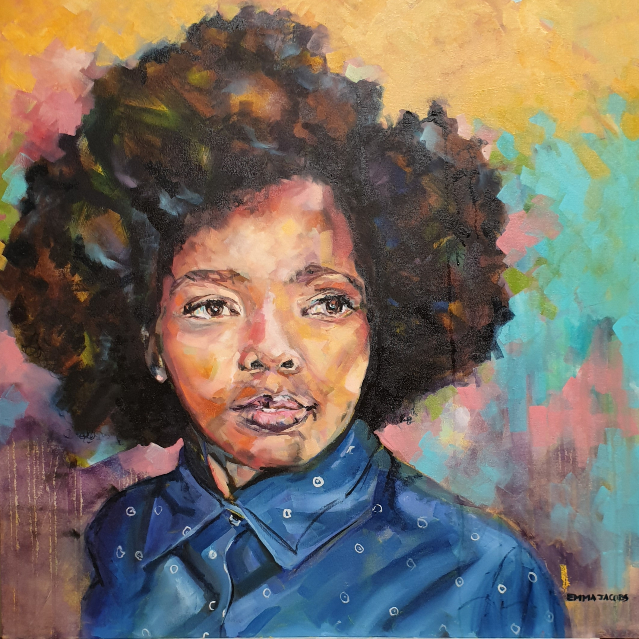 A 1m x 1m Contemporary Portrait of a young Zulu Waitress.